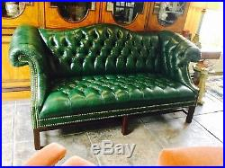 Vintage leather sofa tufted Chippendale