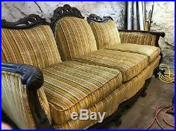 Vintage wood carved Victorian matching chair and couch UPDATED PICTURES