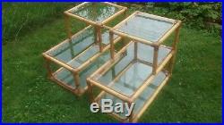 Vtg Antique 5 Pc Rattan Bamboo Patio Set Sofa 2 Chairs Cushions 2 End Tables