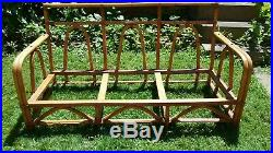 Vtg Antique Rattan Bamboo Sofa Couch Thick Orange Naugahyde Cushions Ficks Reed