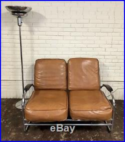 Vtg Art Deco Machine Age Tan Vinyl Chrome Sofa Settee Streamline Legs Hoffmann