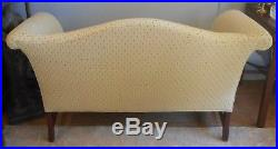 Vtg Chippendale Style Camelback Settee Sofa Loveseat Beige FREE LOCAL DELIVERY