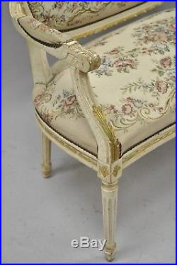 Vtg French Louis XVI Style Distress Painted Cream & Gold Gilt Wood Settee Sofa