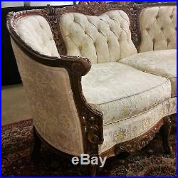 Vtg French Provincial Ornately Carved Small Settee Sofa Couch Los Angeles Area