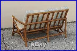 Vtg Mid Century Ficks Reed 5 Pc. Rattan Tiki Set Bamboo Sofa Table Pair Chairs