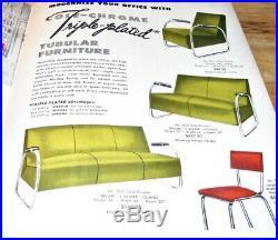 Vtg Tubular Chrome Chair Accent Vinyl Leather MCM Industrial Cole Steel Blue