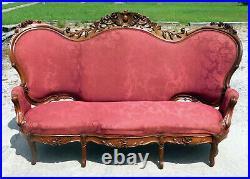 Walnut Victorian High Back Sofa circa 1870