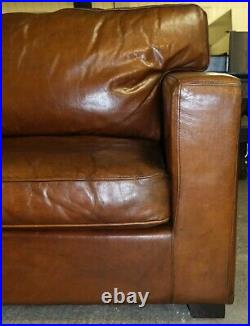 Well Made Brown Saddle Leather Three Seater Sofa On Track Arms & Wooden Feet