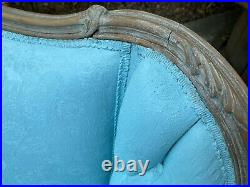 Will ShipANTIQUE VICTORIAN SOFA SETTEE REFINISHED Robin'sEggBlue CARVED