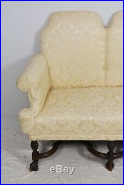 William and Mary Style Settee with Silk Cream Damask Fabric Williamsburg Style