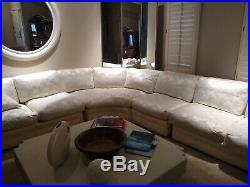 Wow! Vintage Drexel Heritage Ivory Damask Sectional Sofa with Partial Down Filling