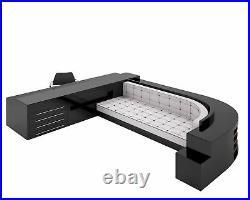 XXL Sofa und Schreibtischkkombination in Hochglanz-Schwarz
