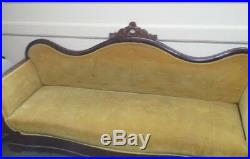 Yellow Velvet Antique Victorian Empire sofa (Pickup Only)